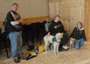 Service Dog Academy class clients during a training exercise at a local mall.